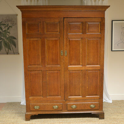 Large Country House Georgian Oak Antique Wardrobe