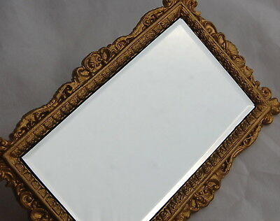 Vtg Dollhouse Miniature Gilt Frame Mirror French Style Wall Entry Shell Beveled