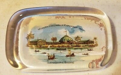 GLASS paperweight - World's Fair Columbian Exposition 1893-HORTICULTURAL BUILD