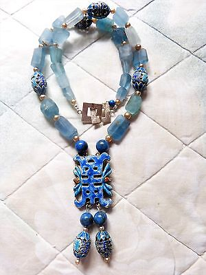 Designer Necklace, antique Chinese silver enamel pendant, Mandarin Court Beads