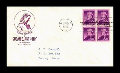 Dr Jim Stamps Us Cover Susan B Anthony Block Of 4 Fdc House Farnum Scott