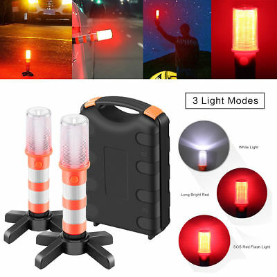 2pcs Road Warning Beacon LED Emergency Roadside Flashing Safe Flare Strobe Light