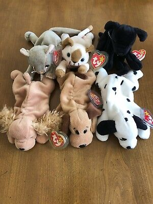NEW TY BEANIE Babies lot 6-4 Dogs 2 Cats SPUNKY-BONES-DOTTIE-LUKE ... 3329fd30271