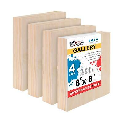 "8"" x 8"" Gallery 1-1/2"" Profile Depth Artist Wood Pouring Panel Boards Pack of 4"