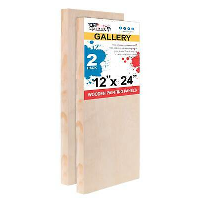 "12"" x 24"" Gallery 1-1/2"" Profile Depth Artist Wood Pouring Panel Boards 2-Pack"