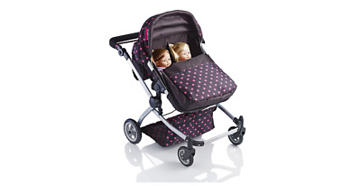 Dolls Double Buggy Deluxe Baby Toy Pram Strolley Lightweight Sturdy Pushchair