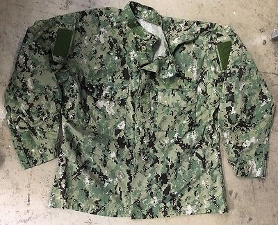 US NAVY USN AOR2 Army woodland Digital Pattern Seals Shirt Jacke LL Large Long