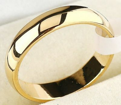 4mm Size 8 Stainless Steel Polished Gold Band Ring USA SELLER Tarnish Resistant