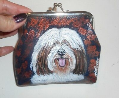 Tibetan Terrier dog Hand Painted Leather Coin Purse Vegan Mini wallet