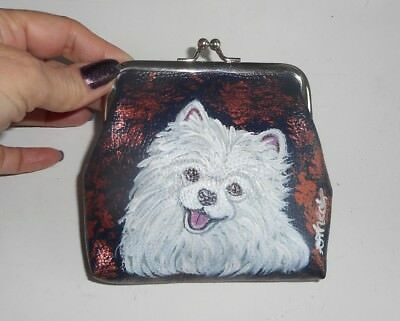 White Pomeranian dog Hand Painted Leather Coin Purse Mini wallet