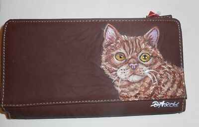 Selkirk Rex Red Ginger Tabby Cat Hand Painted Leather Ladies Wallet