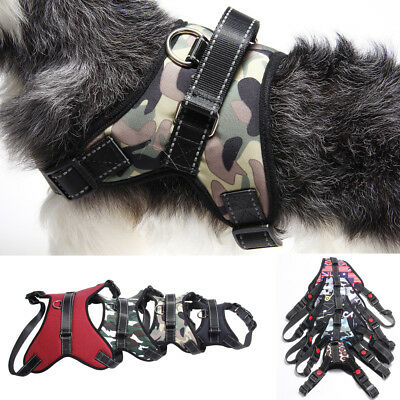 UK Pet Dog Puppy Camo Power Harness Strong Adjustable Padded Work Harnesses Vest