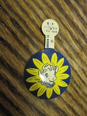 Old Vintage Borden's Dairy Fold-Over Tab Pin Elsie the Cow Tin Litho Yellow Blue