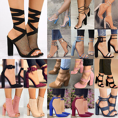 US Womens Ladies Block High Heels Ankle Strapped Sandals Party Pumps Shoes Size