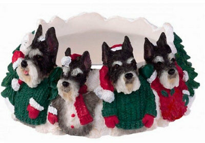 Schnauzer Holiday Candle Topper Ring Cropped