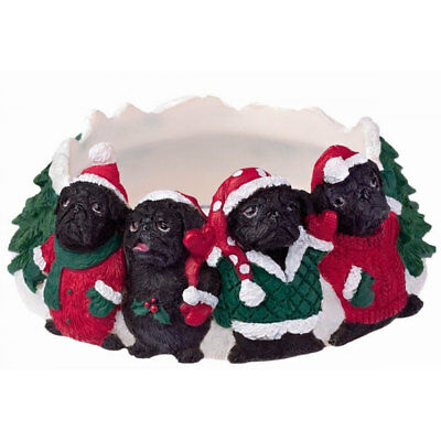 Pug Holiday Candle Topper Ring Black