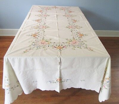 Vintage Large Embroidered Tablecloth w 12 Napkins 99 X69  In w Floral Embroidery