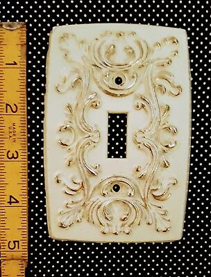Ornate French 1 Toggle Single Light Switch Plate Cover White Brass Metal Vintage