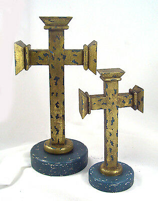 WARRIOR WOOD CROSS set of 2 Beautiful Ancient Old World Design New distressed