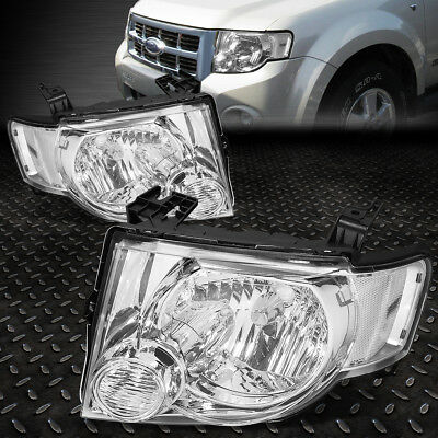 For 2008-2012 Ford Escape Suv Pair Chrome Housing Clear Side Headlight/Lamp Set
