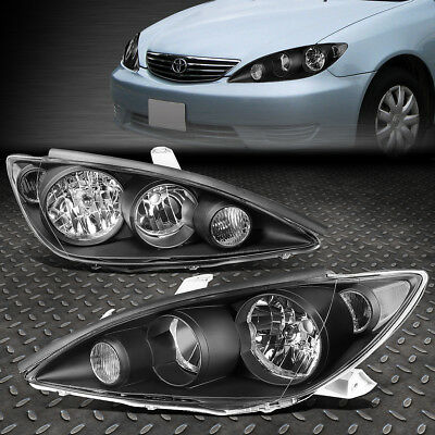For 2005-2006 Toyota Camry Pair Black Housing Clear Corner Headlight/lamp Set