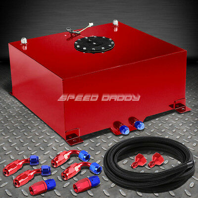 15 Gallon Red Aluminum Fuel Cell Gas Tank+Cap+Level Sender+Nylon Fuel Line Kit