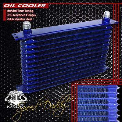 13-Row 10An Powder-Coated Aluminum Engine/transmission Racing Oil Cooler Blue