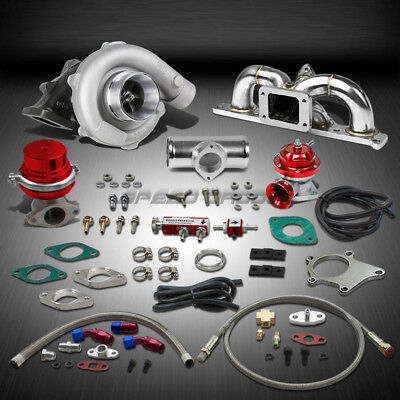 T04 .63Ar 400+Hp Boost 9Pc Turbo Charger+Manifold Kit For 03-08 Gk 2.0L Dohc