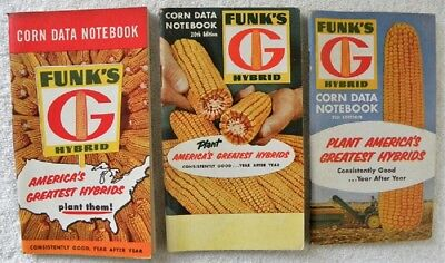 3 Old Funks G Hybrid Seed Corn Farm Data Notebook, Funk's 1957,1958,1960