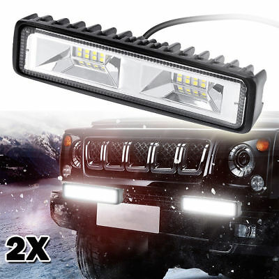 2X 6 inch 120W 16 LED Work Light Flood Beam Bar Car SUV OffRoad Driving Fog Lamp