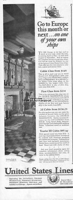 1926 United States Lines SS America Smoking Room Cabin Rates Ocean Liner Ship Ad