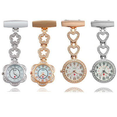 Bling Stainless Steel Nurse Watch Brooch Tunic Fob Watches Pocket Pendant Quartz