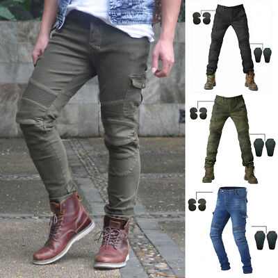 Motorcycle Jeans Denim Biker Moto Trousers Combat Pants With 4 Pads 6 Sizes
