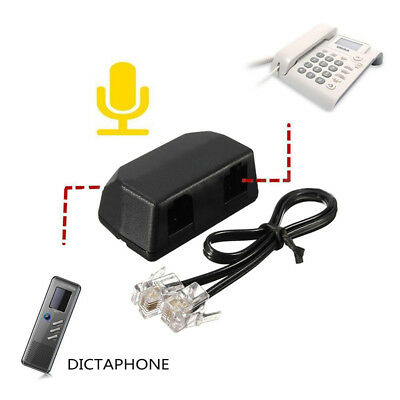 3.5mm Dictaphone Telephone Recording Adapter For Digital Voice Recorder Black