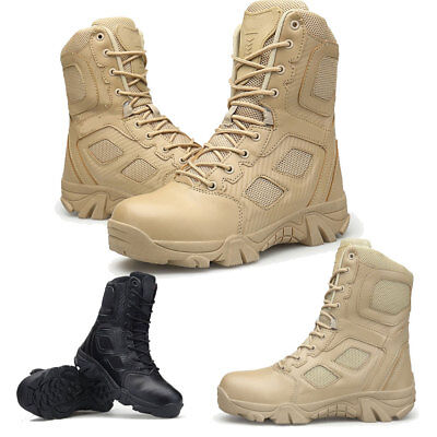 Mens Army Tactical Comfort Leather Combat Military Ankle Boots Work Desert  Shoes 8519d482a15