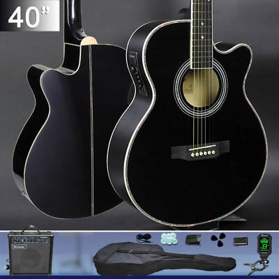 Electric Acoustic Guitar Wooden Classical Full Size Amp Carry Bag Tuner Strap