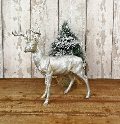 Vintage Stag Deer Silver Antlers Head Reindeer Ornament Decorative Sculpture New