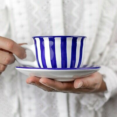 Handmade Dark Navy Blue Stripe Ceramic Cappuccino Coffee Tea Cup & Saucer