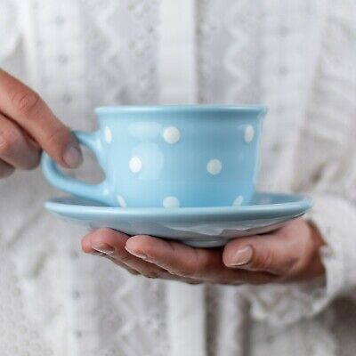 Handmade Sky Blue and White Polka Dot Ceramic Cappuccino Coffee Tea Cup & Saucer