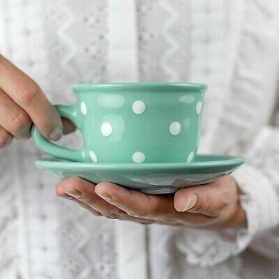 Handmade Teal Blue & White Polka Dot Ceramic Cappuccino Coffee Tea Cup & Saucer