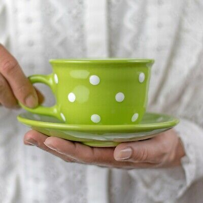 Handmade Lime Green & White Polka Dot Ceramic Cappuccino Coffee Tea Cup & Saucer
