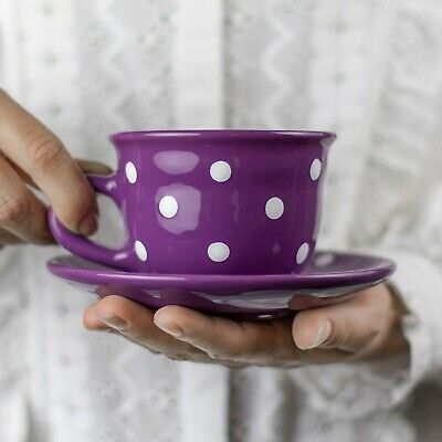 Handmade Purple and White Polka Dot Ceramic Cappuccino Coffee Tea Cup & Saucer