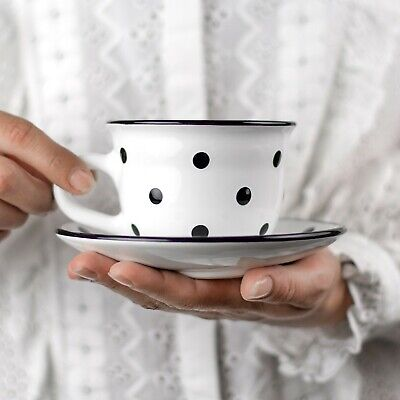 Handmade White and Black Polka Dot Ceramic Cappuccino Coffee Tea Cup & Saucer