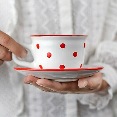Handmade White and Red Polka Dot Ceramic Cappuccino Coffee Tea Cup & Saucer