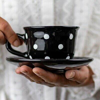 Handmade Black and White Polka Dot Ceramic Cappuccino Coffee Tea Cup & Saucer