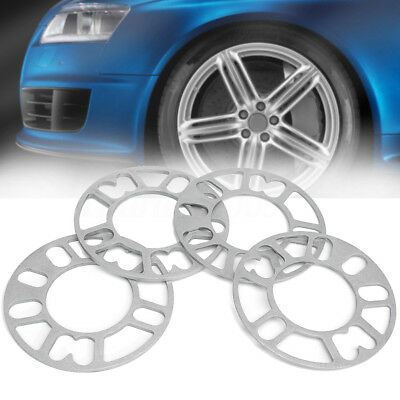 4 Pcs 3mm 5mm Universal Alloy Wheel Spacers Shims Adaptor Plate Set For 4/5 Stud