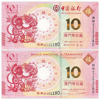Macau Macao Set lot 2 PCS, 10 Patacas, 2016 Monkey, P-New,UNC>BNU & BOC