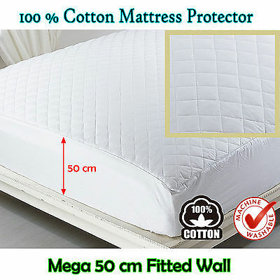 100% COTTON Quilted Fully Fitted 50cm Mega Wall - Mattress Protector QUEEN KING