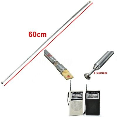 Replacement 60cm 6 Sections Telescopic Antenna Aerial AM//FM for Radio TV LW