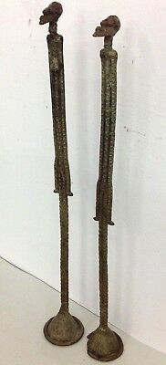 finest old Dogon Bronze Pair Figure Mali 20 inch old Germany collection